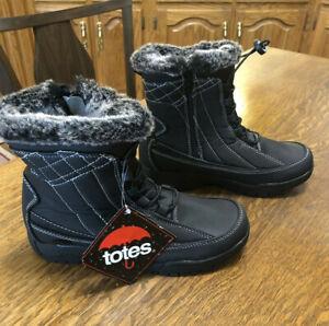 TOTES EVE 80782 Women's Warm Waterproof Snow Zip Up Winter BOOTS Black # 13 A4