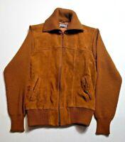 Vintage Sears Sportswear Leather Sweater Mens Medium Brown