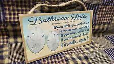 """Bathroom Rules If It Smells Spray It Beach Sand Dollar 5"""" x 10 Bath SIGN Plaque"""