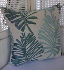 Scandi Teal + Turquoise Textured Palm Leaves Jacquard Damask Cushion Cover 45cm