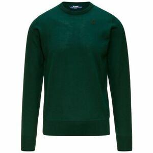 Men's Sweater Crew-Neck K-WAY 100% Merino Wool Art. K6113BW Mod. Sebastien