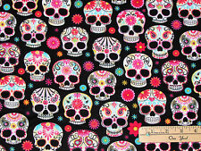 Black Day of the Dead Sugar Skulls Halloween Fabric by the 1/2 Yard  #C4139