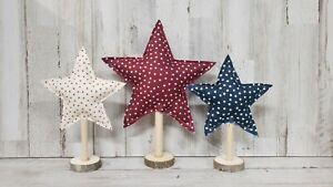 Fabric Stars July 4th Mantel Decor, Memorial Day Decor, Independence Day Decor