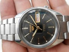 Stainless Steel Rare Vintage Black Dial SEIKO 5 Japan D/Date Men Automatic Watch
