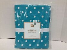 Pottery Barn PB Teen polka dot Dottie Bed Dorm Sheets Set XL Twin Aqua Marine