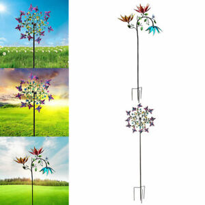 2Pack Metal Wind Spinner Flowers Windmill Outdoor Patio Lawn Home Decor