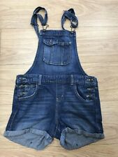 Women's Dungarees Shorts Size 10 Uk Blue Denim L.E.I C504
