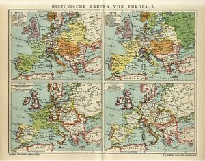 1909 HISTORY of EUROPE II GERMANY RUSSIA FRANCE AUSTRIA POLAND Antique Map dated