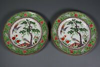 Antique CROWN STAFFORDSHIRE Chinoiserie 7590 Porcelain Plate PAIR Hand Painted