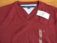 NWT Tommy Hilfiger Men's Pull Over Solid V-Neck 100% Cotton Sweater Wine L