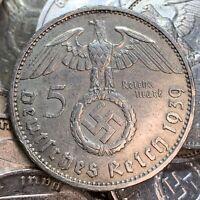 WW2 Nazi Germany 5 Reichsmark Hindenburg Silver Swastika Coin Buy 3 Get 1 Free
