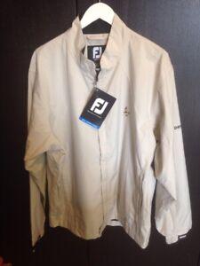 NWT Footjoy Men's Dryjoy Performance Light Jacket Large Sandstone W Club Logo