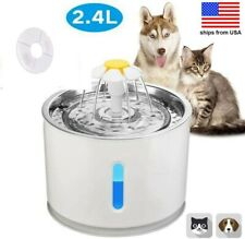Stainless Steel Cat Water Fountain 2.4L Automatic Pet Water Dispenser with Led