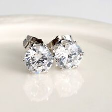 Women's CZ Earrings Vogue Ear stud 18k White Gold Filled 8mm Fashion Jewelry HOT