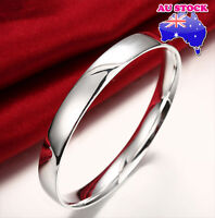 925 Silver Filled Layered Classic 10MM Solid Plain Band Charm Bracelet Bangle