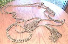 """Pair Vintage Braided Tassel Rope Tie-Backs Dark Olive Green 58"""" Length"""