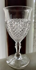 """10 - Vintage Diamond Cut Clear Glass Wine Glass Goblet 6 1/4"""" Tall Gift Quality"""