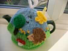 HAND KNITTED  WOODLAND HEDGEHOG TEA COSY  FOR A SMALL TEAPOT 1-2 CUP