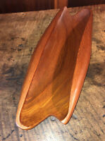 Vintage Hand Carved Solid Wood Bowl Dish Serving Tray Teak Thailand New Trends