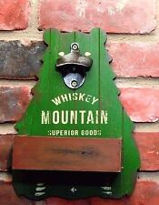 Whiskey Mountain Wood Bottle Opener Green Bear With Cap Catcher