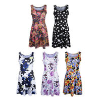 Women Floral Dress Summer Sleeveless Round Neck Casual Flared Midi Dress