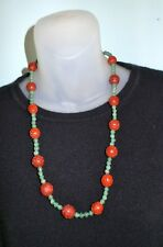 Vintage CHINESE CINNABAR & JADE BEADS SILVER CLASP CARVED BEADS NECKLACE 25""
