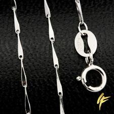Halskette Echt 925 Sterling-Silber Haferkorn 1mm Massiv Diamantiert 40-45 cm NEU
