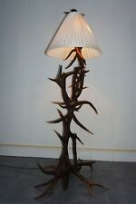 ANTIQUE BLACK FOREST REAL ANTLERS FLOOR LAMP W. SILK SHADE