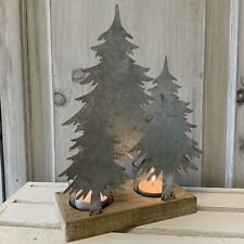Metal & Wood Woodland Christmas Tree T Light Holder Mantel Decoration Candle