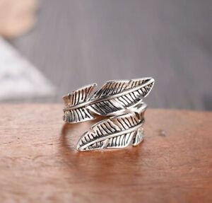 Sterling Silver Feather Ring - Adjustable Size