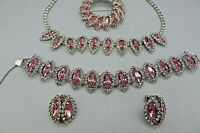 Weiss Fabulous Pink Rhinestones 4 Pc Set Earings Necklace Pin Bracelet INCREDIBL
