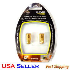 2 PC GOLD PLATED Push-on Coax Connector Adapter RG59 / RG6U Coaxial TV Cable STL