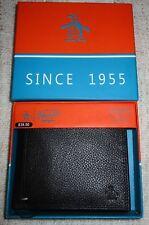 PENGUIN By Munsingwear Men's Bifold Pebble Leather Wallet BLACK Hand Stitch  NEW