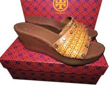 Tory Burch Beige Eloise Clogs Wedge Sandals Flats Shoe Mules Slides 10.5