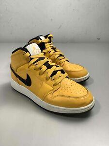 Boy's Jordan 1 Mid University Gold Black (GS) Shoes Size 6