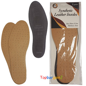 Leather Shoe Insoles Soft Synthetic Unisex Anti Odour Fresh Inner Sole 2 Pairs