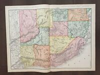 """Large 21"""" X 28"""" COLOR Rand McNally Map of the Wastern Half of the U.S.  (1905)"""