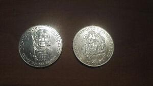 2 Pièces commémoratives de 100 Francs en argent CLOVIS