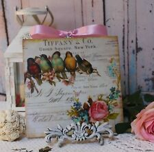 """""""Birds & Roses..."""" Vintage Shabby Country Cottage Chic style Wall Decor. Sign"""