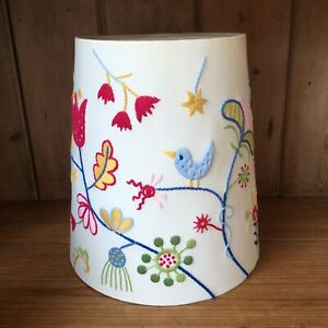 "Ikea Lampshade Embroidered Stitch Afhild Fagel Folk 10"" Flowers Birds Folk Art"