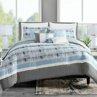 7 Piece Marlen Embroidery and Pleated Comforter Set Bed-In-A-Bag (Queen, Blue)