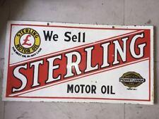 "Porcelain STERLING MOTOR OIL Enamel Sign SIZE 30"" X 16"" INCHES 2 sided"
