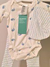 H&M Baby Organic Cotton Ivory Blue WHALE Print 3 PCs Bodysuit Pants Hat  NEW