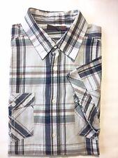 Esprit Men's Short Sleeve Button Down Shirt Blue Grey Plaid L