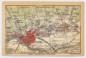 1910 ANTIQUE CITY MAP OF VICINITY OF ARNHEM / HOLLAND NETHERLANDS