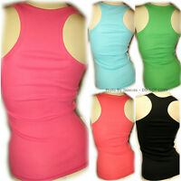 NEW Womens Sleeveless Racerback Tank Top Tee Shirt S Ribbed Solid Color Summer