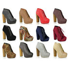 WOMENS LADIES WOODEN BLOCK HIGH HEEL PLATFORM LACE UP ANKLE BOOTS SHOES SIZE