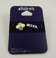 Sterling Silver Bee Cool post studs earring  earrings 925  Claire's