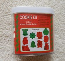 Retired Wilton 10 Christmas Plastic Cookie Cutter Set Plus Storage Container