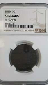 1810 Large Cent NGC XF details Cleaned